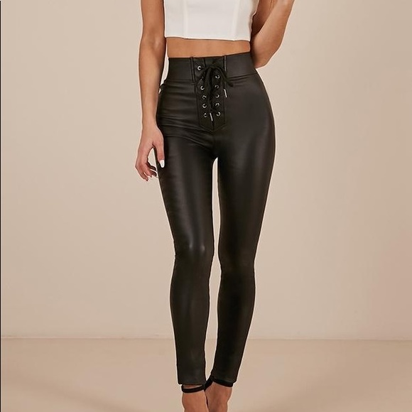timeless design really comfortable choose original Black leather pants lace up in front